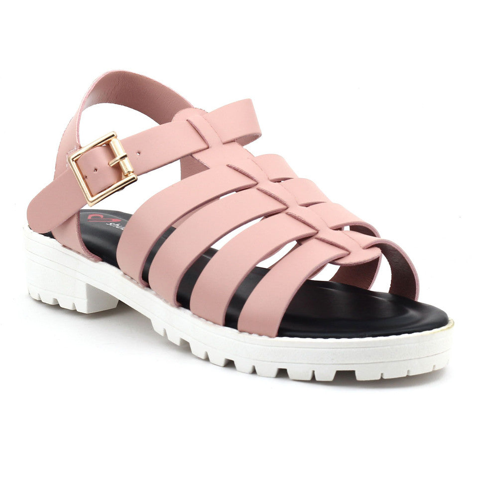 Pink Faux Leather Heels SB-246