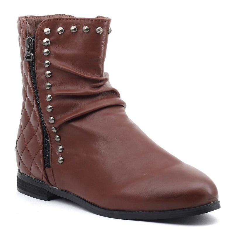 Brown Faux Leather Boots SB-156