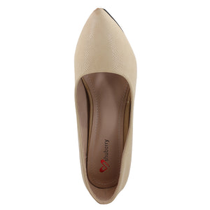 Beige Faux Leather Pumps - SB-18004