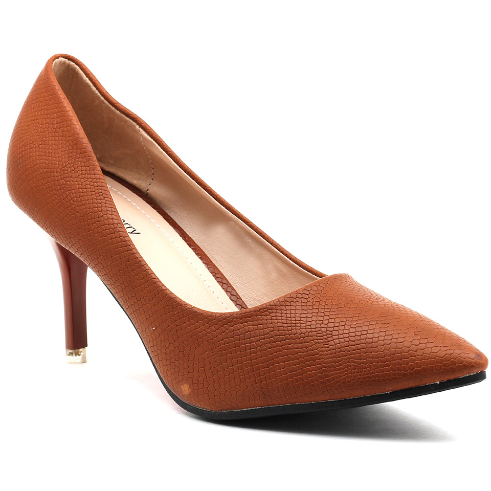 Brown Faux Leather Pumps - SB-18004