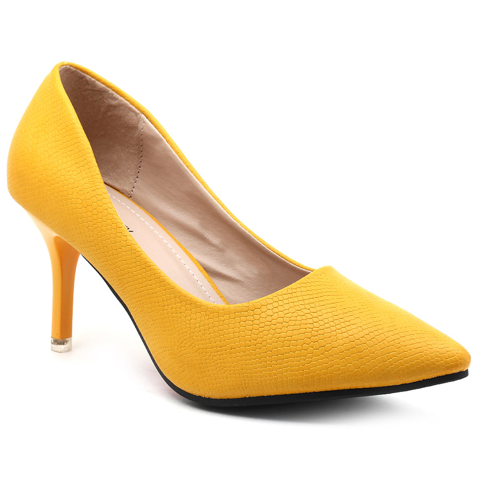 Yellow Faux Leather Pumps - SB-18004