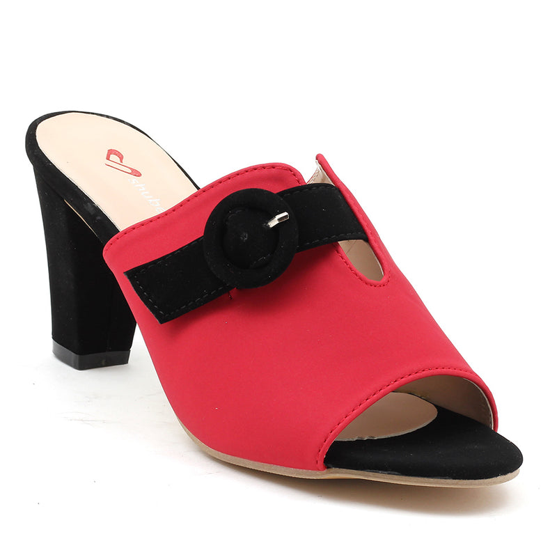 Red Faux Leather Mule - SB-18006