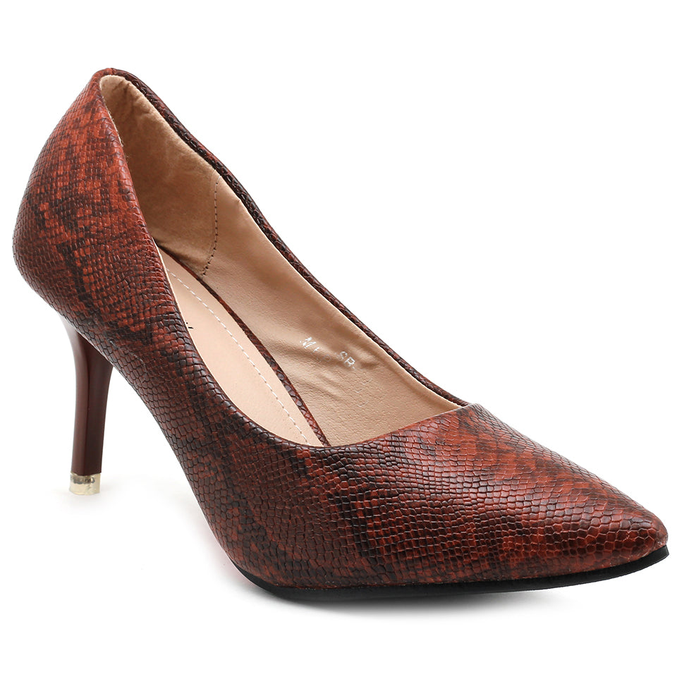 Maroon Faux Leather Pumps - SB-18008