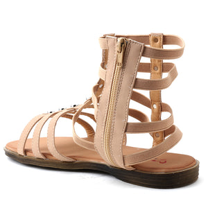 Beige Faux Leather Gladiator - SB-18010