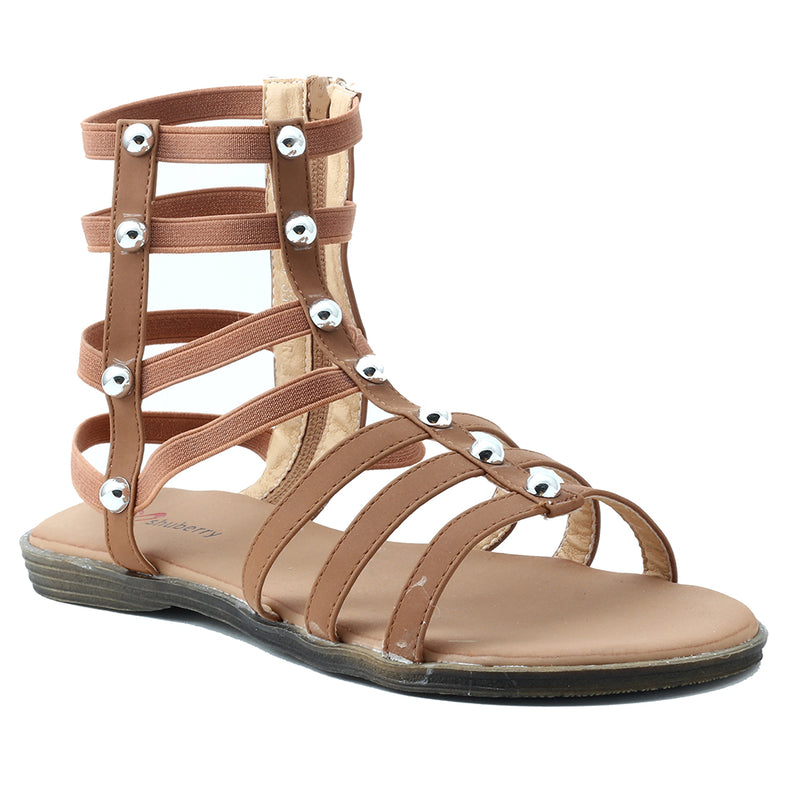 Tan Faux Leather Gladiator - SB-18010