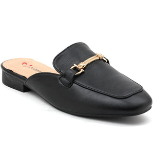 Black Artificial Leather Mule - SB-18019