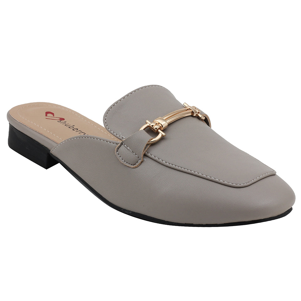 Grey Artificial Leather Mule - SB-18019