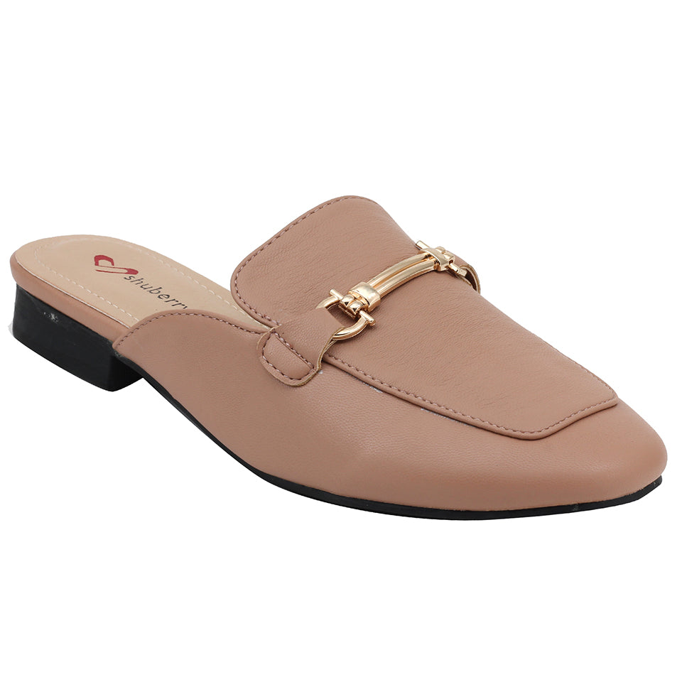 Peach Artificial Leather Mule - SB-18019