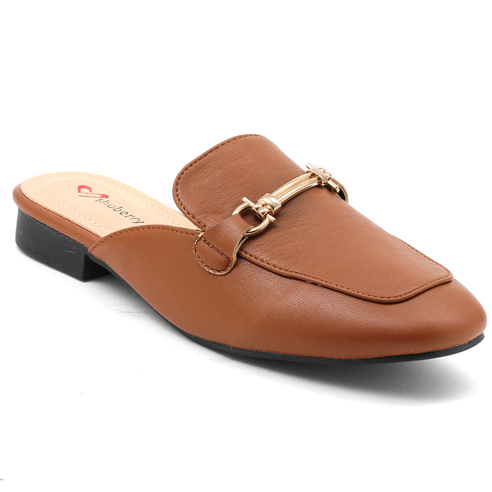 Tan Artificial Leather Mule - SB-18019