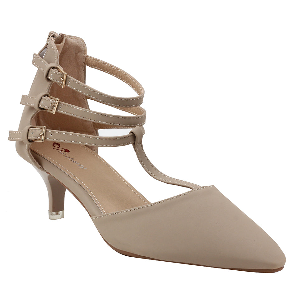 Beige Faux Leather Heels - SB-18024