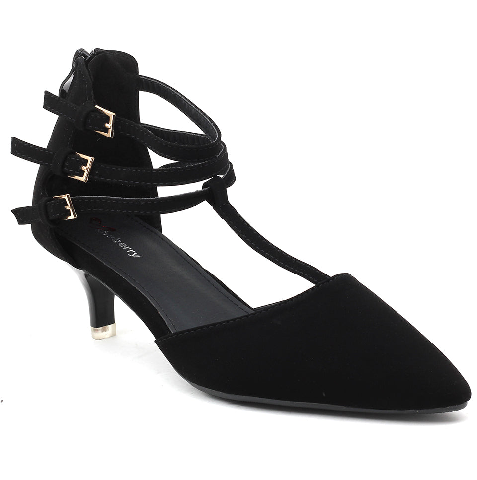 Black Faux Leather Heels - SB-18024