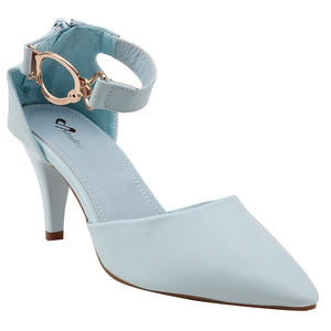 Blue Artificial Leather Heels - SB-18027