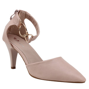 Peach Artificial Leather Heels - SB-18027