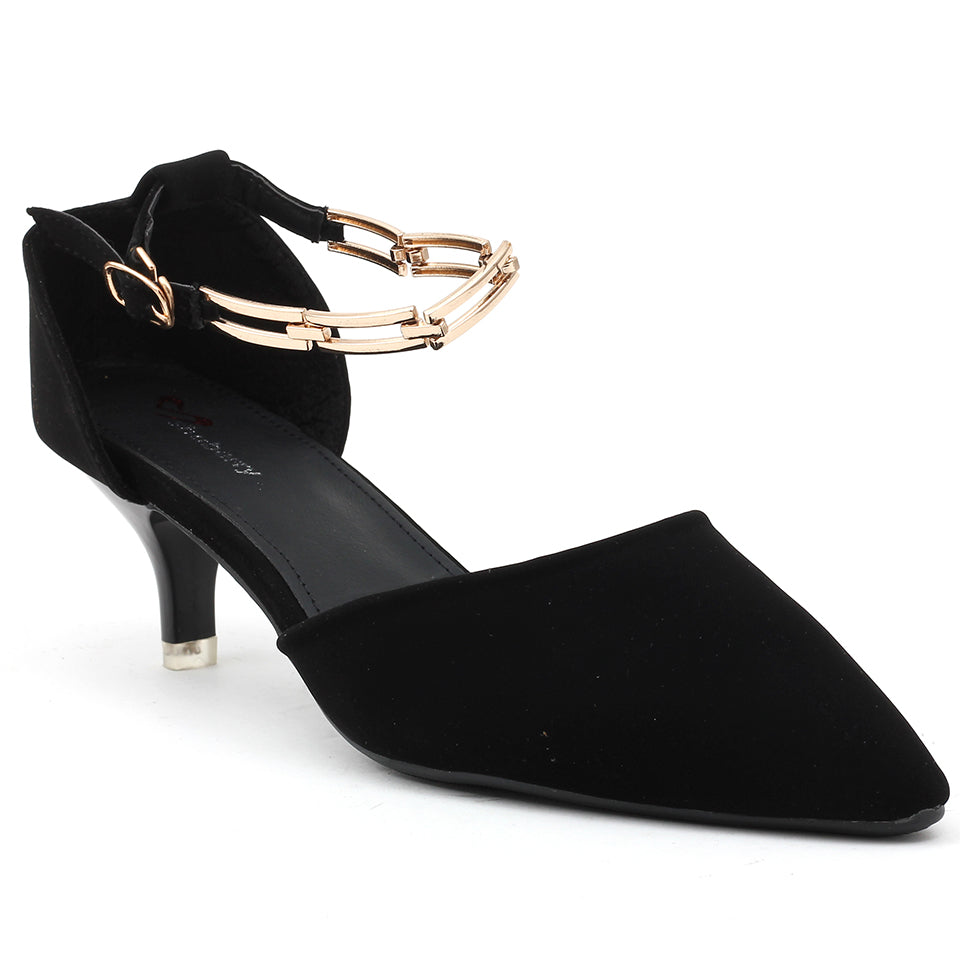 Black Faux Leather Heels - SB-18028