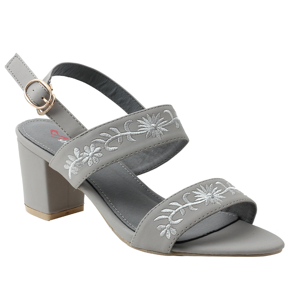Grey Faux Leather Sandal - SB-18029