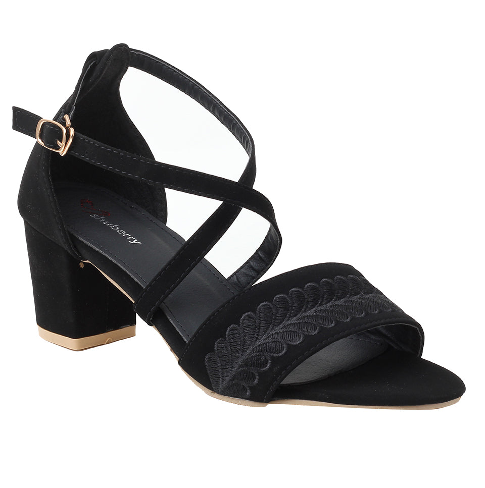 Black Faux Leather Sandal - SB-18030