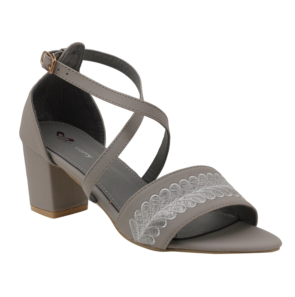 Grey Faux Leather Sandal - SB-18030