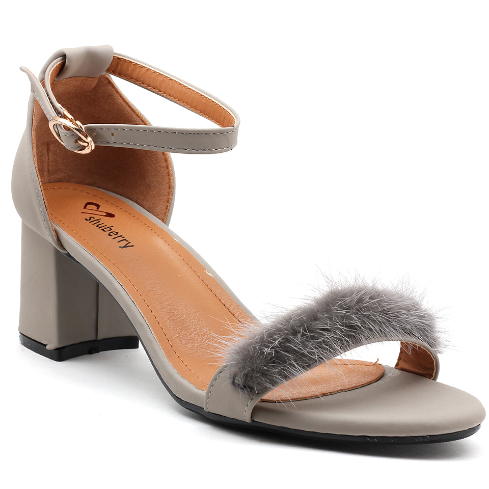 Grey Faux Leather Sandal - SB-18037