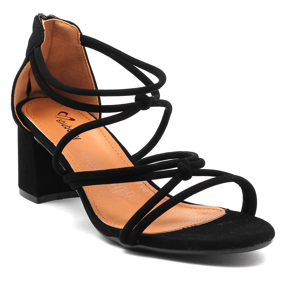 Black Faux Leather Sandal - SB-18038
