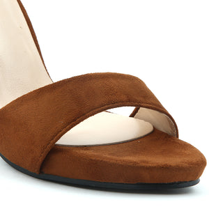 Brown Suede Heels - SB-18056