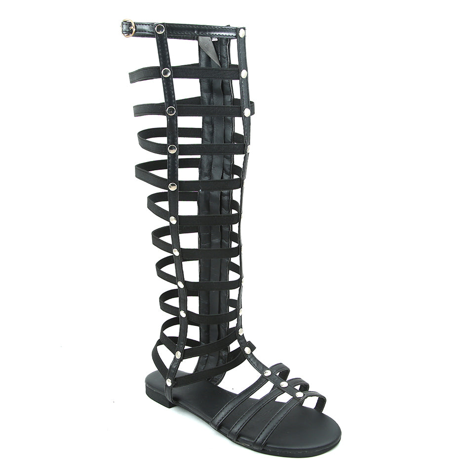 Black Artificial Leather Gladiator - SB-18091
