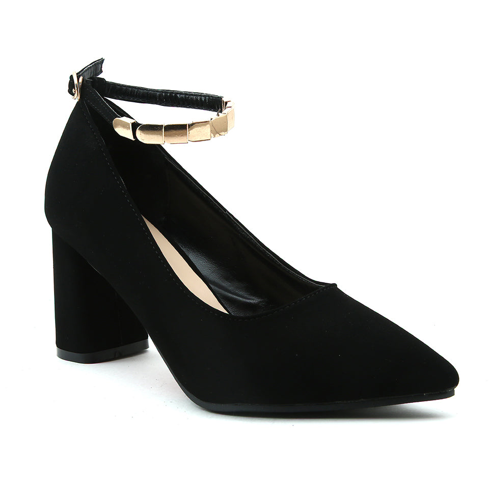 Black Faux Leather Heels - SB-18095