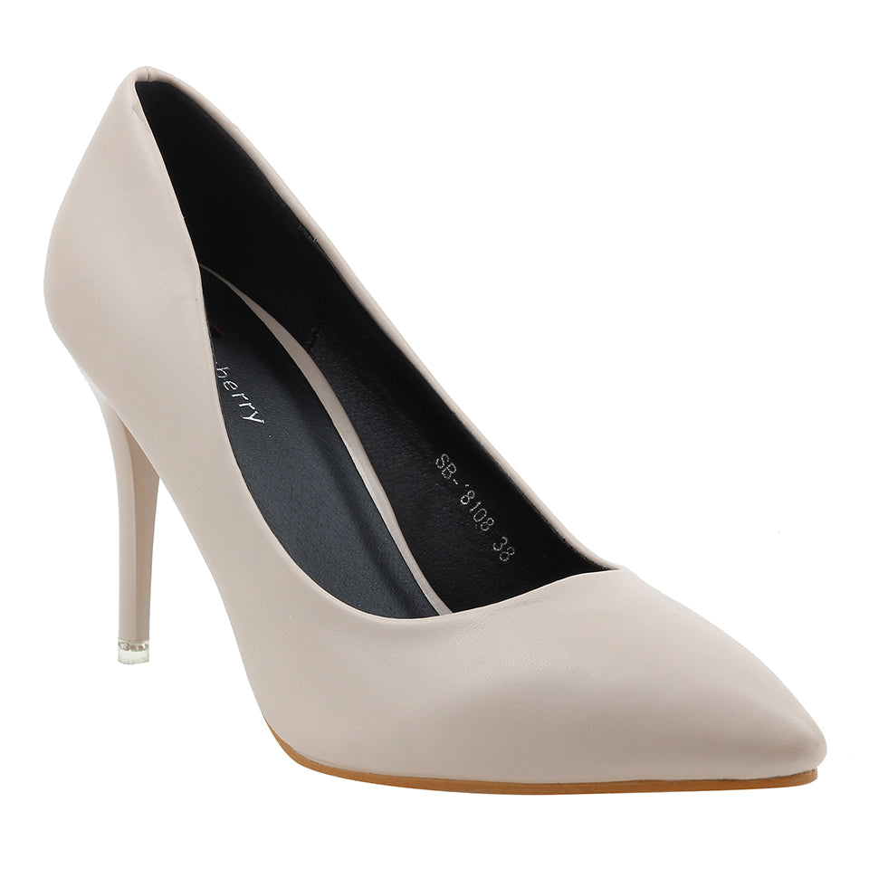 Beige Artificial Leather Pumps - SB-18108
