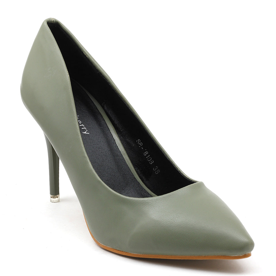 Olive Artificial Leather Pumps - SB-18108