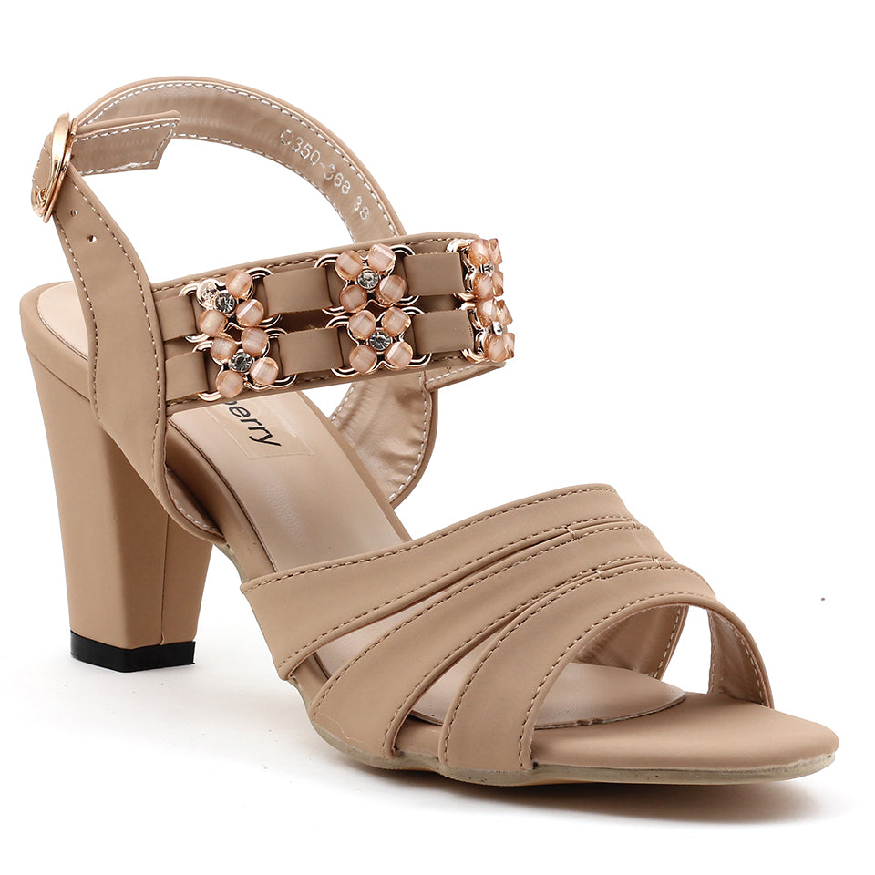 Beige Faux Leather Heels - SB-18115