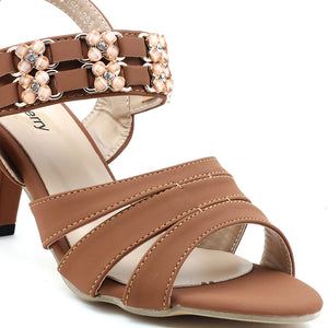 Tan Faux Leather Heels - SB-18115