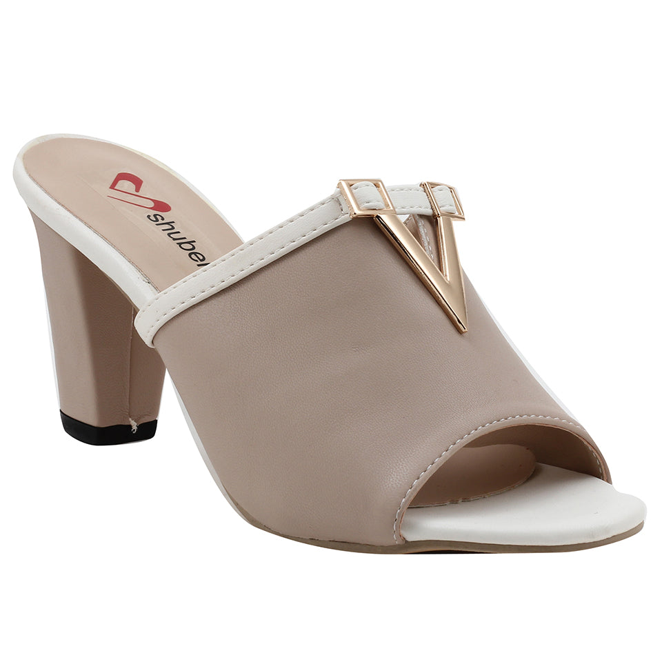 Beige Artificial Leather Mule - SB-18117