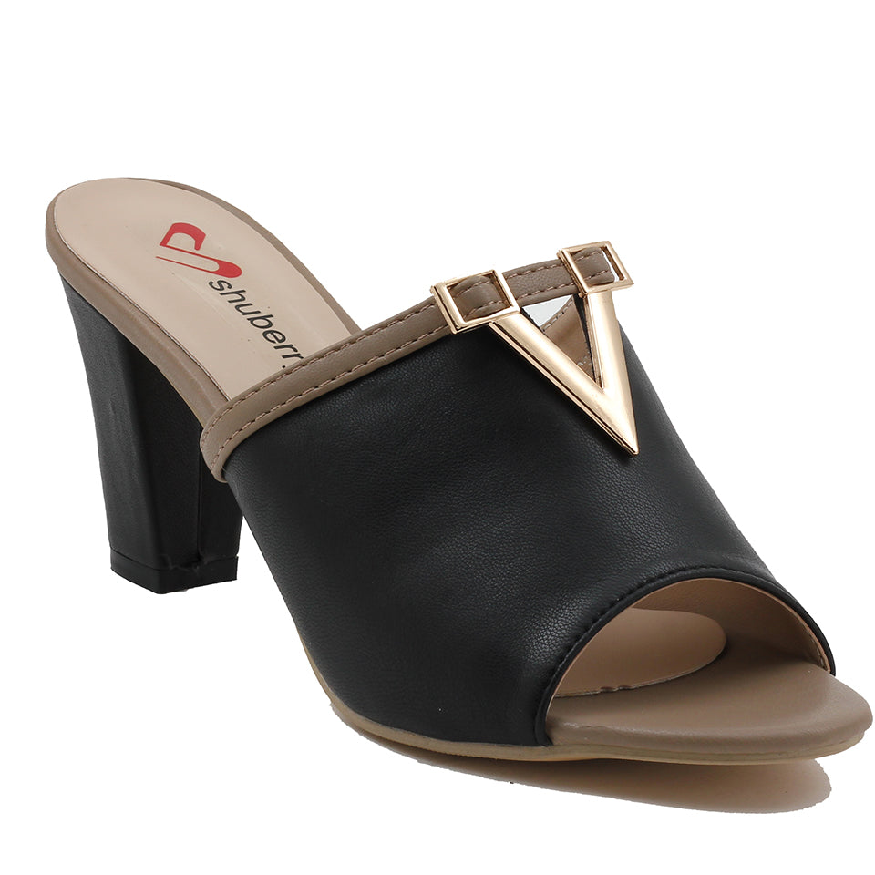 Black Artificial Leather Mule - SB-18117
