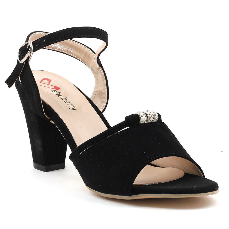 Black Faux Leather Sandal - SB-18118