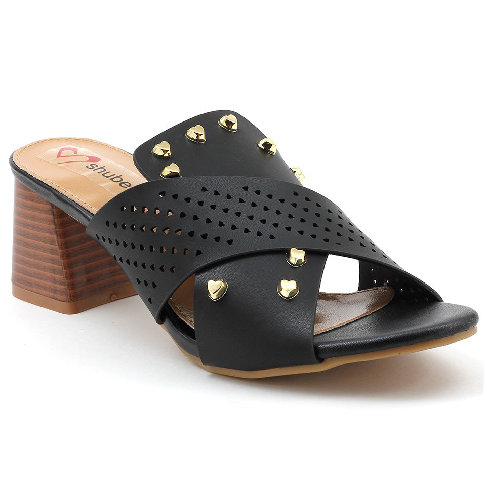Black Artificial Leather Sandal - SB-18122
