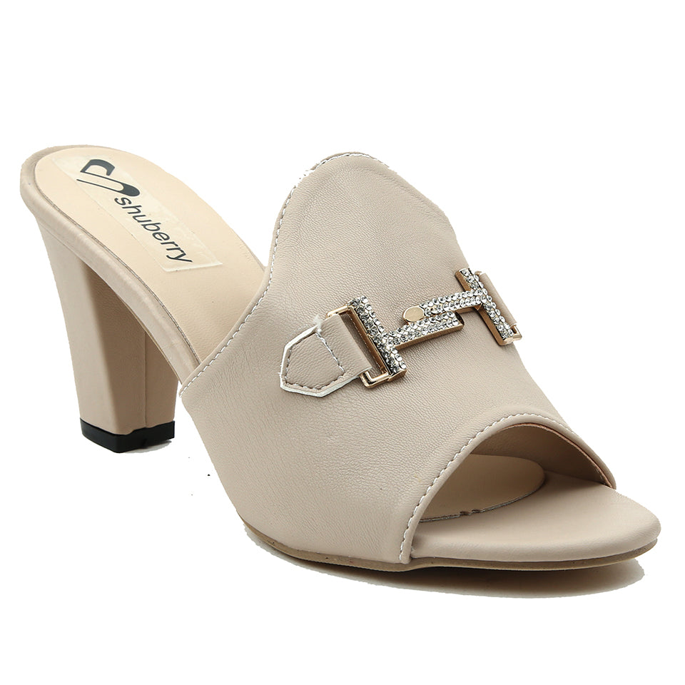 Beige Artificial Leather Mule - SB-18126