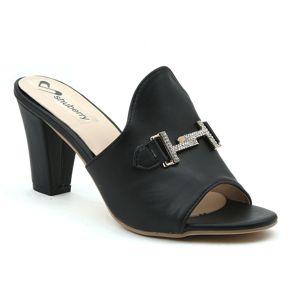 Black Artificial Leather Mule - SB-18126