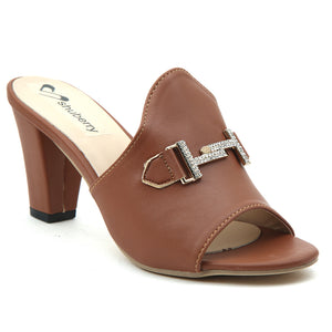 Brown Artificial Leather Mule - SB-18126