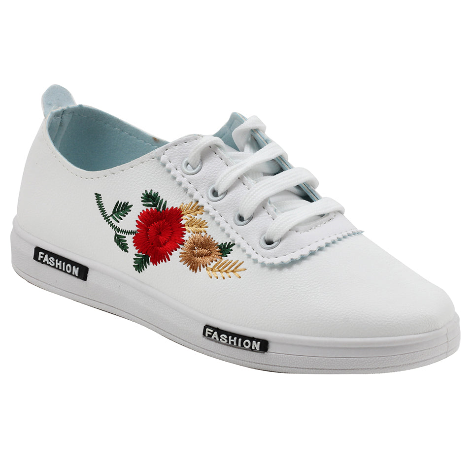 White N Red Artificial Leather Sneakers - SB-18132