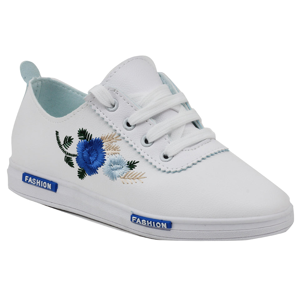 White N Blue Mesh Sneakers - SB-18132
