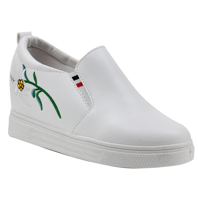 White Artificial Leather Sneakers - SB-18135