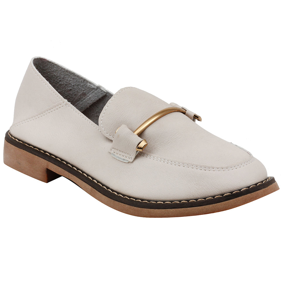 Beige Artificial Leather Loafers - SB-18138
