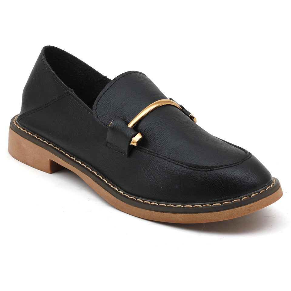 Black Artificial Leather Loafers - SB-18138