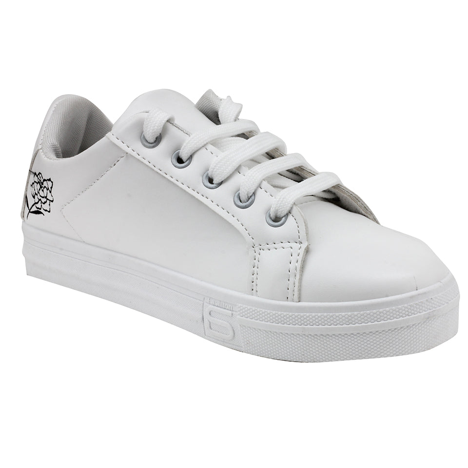 White N Black Synthetic Sneakers - SB-18142