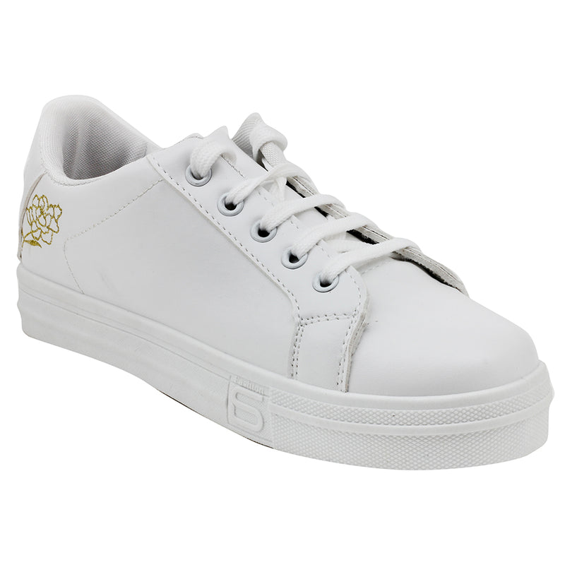 White N Gold Synthetic Sneakers - SB-18142