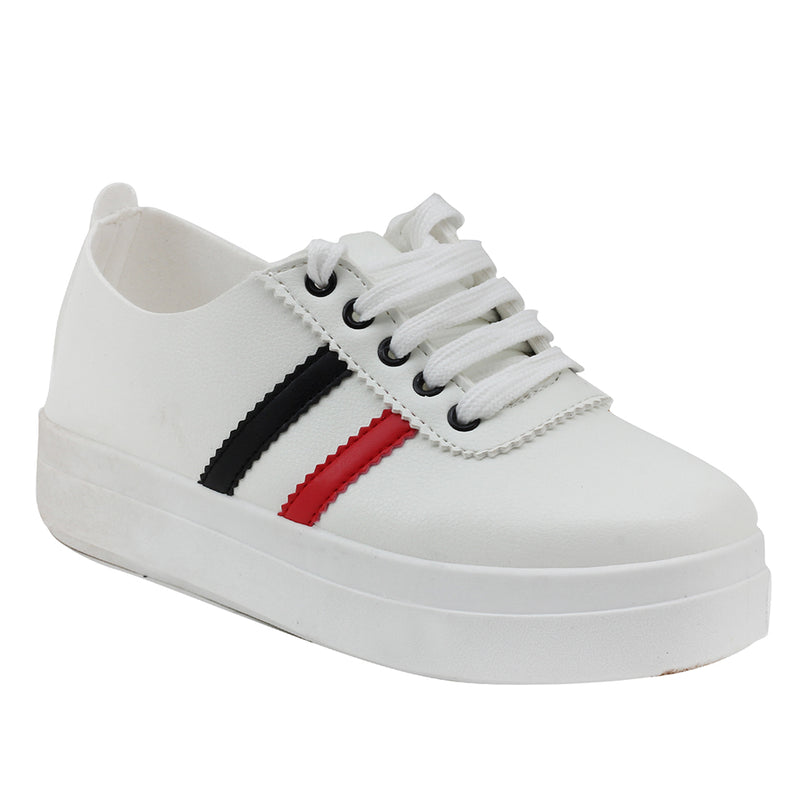 White Artificial Leather Sneakers - SB-18144