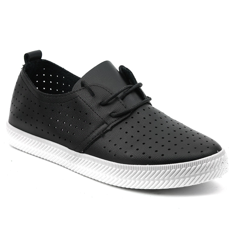 Black Artificial Leather Sneakers - SB-18145