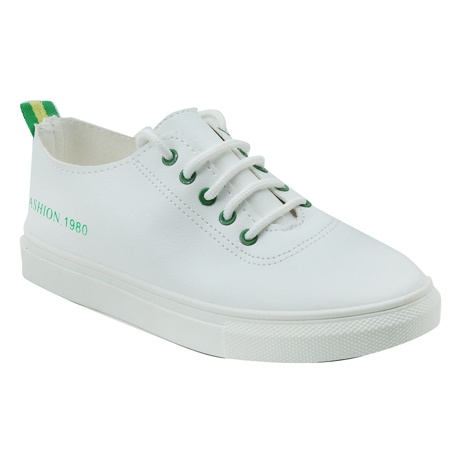 White Artificial Leather Sneakers - SB-18146
