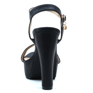 Shuberry SB-19005 Satin Black Heels For Women