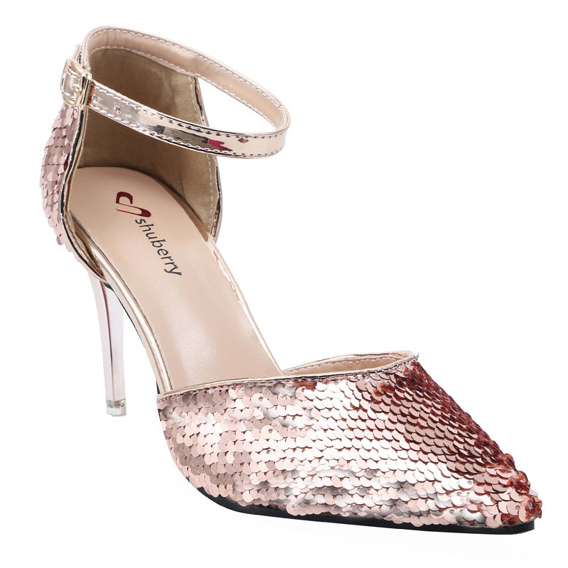 Shuberry SB-19008 Sequin Champagne Heels For Women