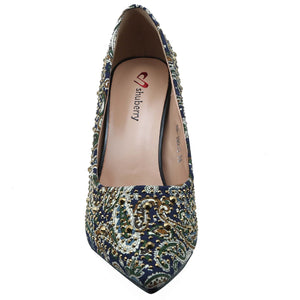 Shuberry SB-19010 Fabric Navy Pumps For Women